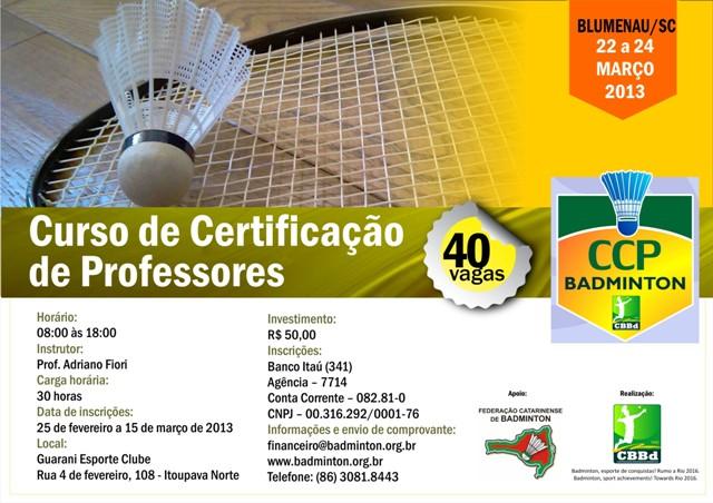 CCP - Curso de Certificação de Professores de Badminton - Blumenau/SC