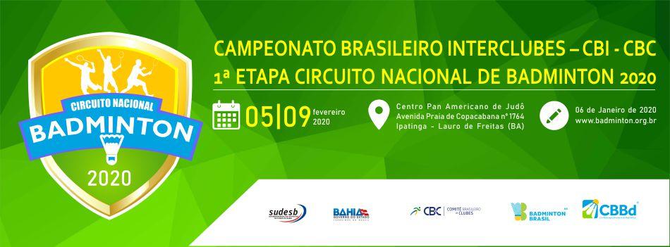 Primeiro torneio de 2020 do Circuito Nacional de Badminton tem carta convite divulgada, confira.