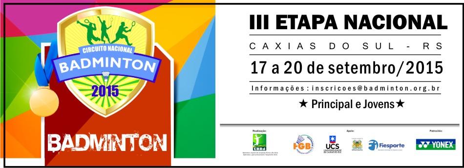 III Etapa Nacional ser� realizada em Caxias do Sul/RS