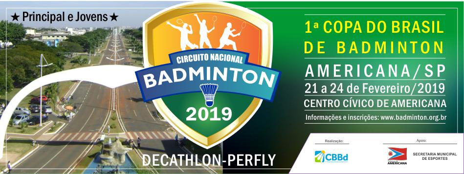 Tabela de jogos - 1ª Copa do Brasil de Badminton 2019